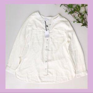 Plus Size White Cotton Blouse Size 2X